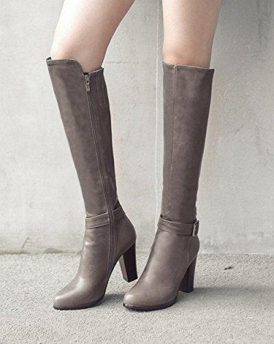 Carolbar Women's Modern Concise High Heel Buckle Over The Knee Boots Grey YhbSHu
