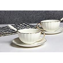 Lautechco Simple Style Porcelain Tea Cup Set with Saucer Floral Vintage Cups Set 230ml/7.7FL.OZ White