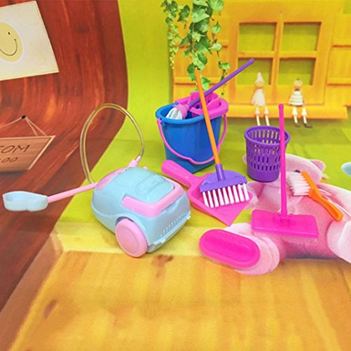 Housekeeping Furniture (Academyus 9Pcs Cleaning Tool Broom Toy Pretend Play Furniture Mini Housekeeping Brush - Random Color)