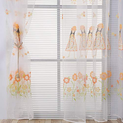 Sheer Window Curtain Panels for Kids Room Elegant Embroidered Floral Pink Voile Tulle Embossed Window Treatment Decorative Draperies and Curtains for Bedroom/Living Room 1 Panel W75 x L93 inch