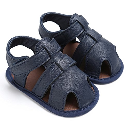 Royirene Infant Baby Boys Summer Shoes Soft Sole Anti-slip Blue PU Leather Sandals 6-12 Months