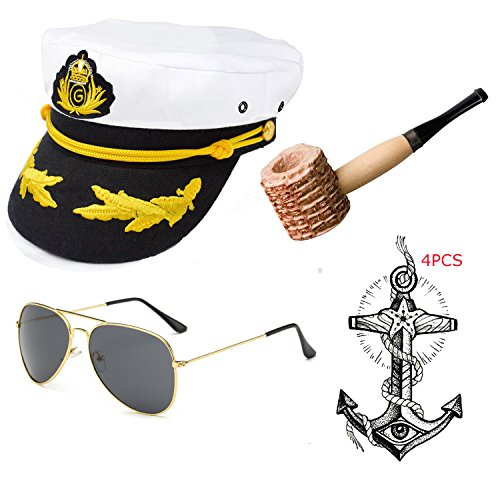 eforpretty Yacht Captain & Sailor Costume accessories Set - Hat,Corn Cob Pipe,Aviator Sunglasses,Vintage Anchor Temporary Tattoo (Onesize, - Sunglasses Anchor