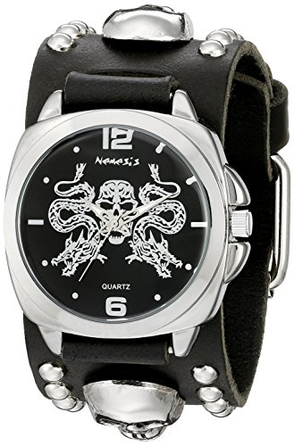 Studded Cuff Watch (Nemesis Men's 910MKS-K Silver Dragon King of Skulls Series Black Skull Studded Leather Cuff Band Analog Display Japanese Quartz Black Watch)