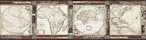 Chesapeake MAN01833B Oliver Map Wallpaper Border, Black