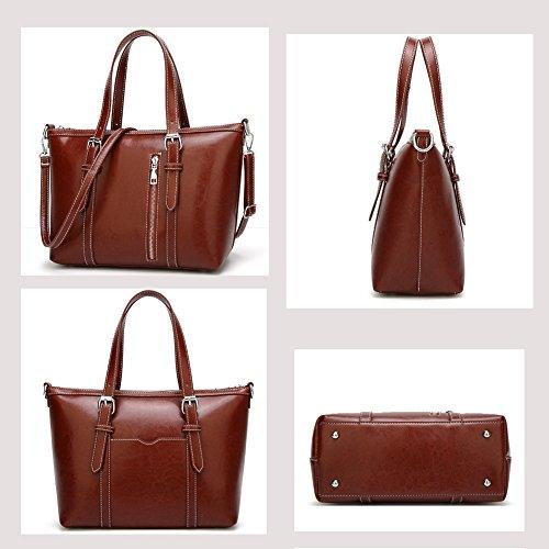 Women's Purses and Handbags Stylish Ladies Designer Satchel Top-handle Tote Shoulder Bags,QUEENTOO(A-Brown) by QUEENTOO (Image #2)