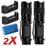 2X Piece 2000LM Zoomable LED Flashlight Torch 18650 Battery & Charger
