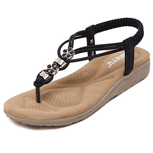 Shoes Flops pit4tk Fashion Big Size Women Black Flip Comfort Flat Sandals Quality Sandals Summer High ZAqw4xq