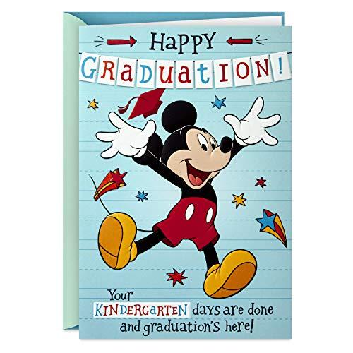 Hallmark Disney Kindergarten Graduation Card (Removable Mickey Mouse Sticker)