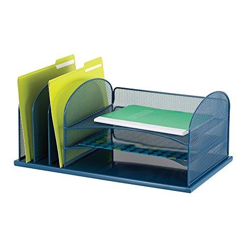 Safco Products Onyx Mesh 3 Sorter/3 Tray Desktop Organizer 3254BU, Blue Powder Coat Finish, Durable Steel Mesh Construction