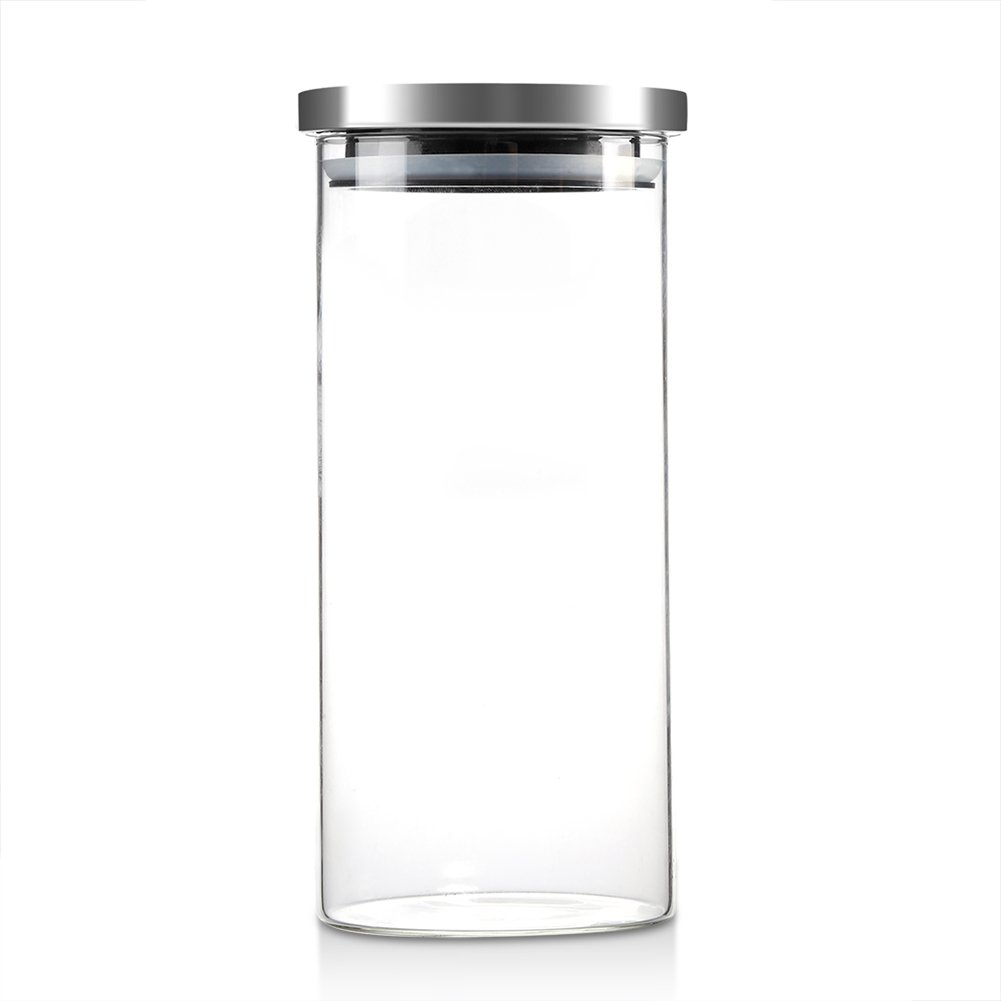 Glass Storage Jar, Durable 1000ml Glass Jars Containers Watertight Coffee Beans Kitchen Food Container with Stainless Steel Lid(1000ML) GLOGLOW
