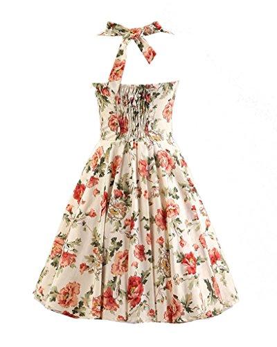 MISSMAO Vintage Rockabilly Kleid Blumen Neckholder Cocktailkleider 50s  Hepburn Kleid Festlich Petticoat Kleid Beige   Blumen ... a5ad12761b