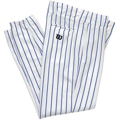 Wilson Adult Poly Warp Knit Woven Pinstripe Baseball Pant, White with Royal Pinstripes, Medium
