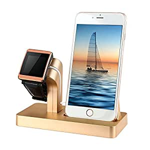 Apple Watch & iPhone Dual USB Charging Stand Cradle Dock Holder Post for Apple Products Watch Series 3 / 2 / 1 / iPhone X / 8 / 8 Plus / 7 / 7 Plus / 6S / 6S / 5 / SE Plus by Tech Express (Gold)