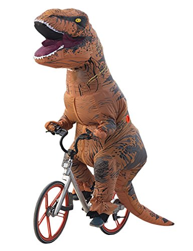 T-rex Costume Funny (Lakerui Funny Inflatable Blow Up T-Rex Dinosaur Fancy Costumes for Adult Brown)