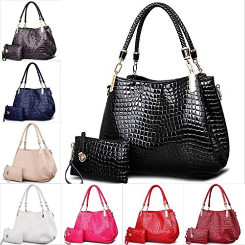 Coffee Handbag Crocodile - hainan Ladies' Handbag Shoulder Bag Crocodile Bag Female Messenger Bag Tote Bolsas Travel Bag Coffee 2pcs/Set
