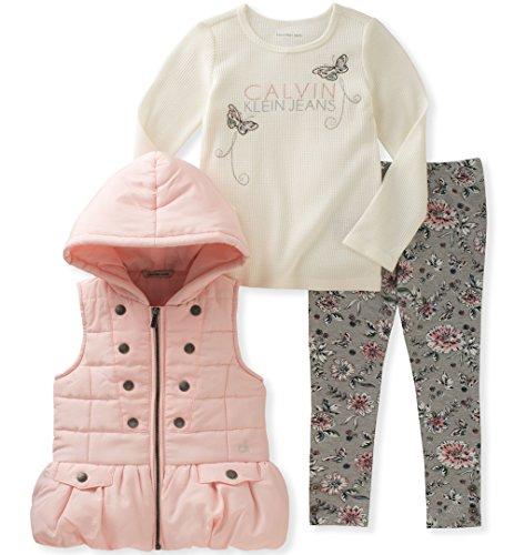 Calvin Klein Baby Girls' 3 Pc Puffer Vest Set, Vanilla/Pink, 12M