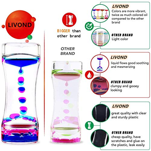 LIVOND Liquid Motion Bubbler Sensory Timer, 2 Minute – Big Calming Sensory Bubble Toy for Kids with Autism ADHD Anxiety or Special Needs (Single Pack)