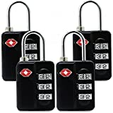 TSA Luggage Locks (4Pack) -Combination Padlocks - Approved Travel Lock for Suitcases & Baggage