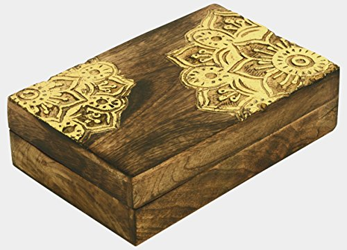 SAAGA Wooden Multipurpose Jewelry Box Keepsake Trinket Treasure Chest Storage Box with Mandala Carving and Gold Foil | 8x5.5 - Trinket Brass Box