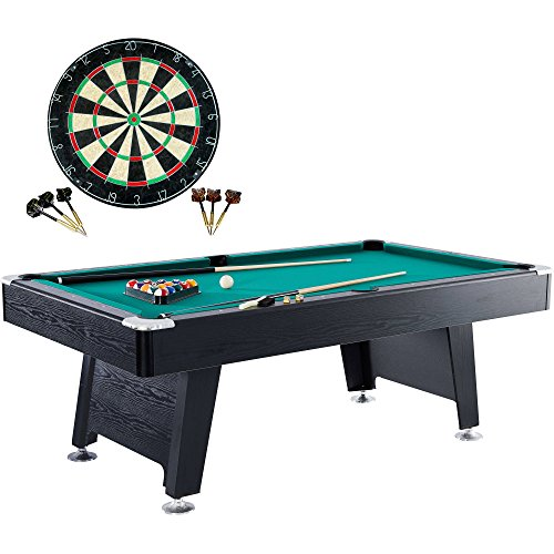 Barrington 84 Inch Arcade Billiard Table/Pool table + Bonus Dartboard, -Perfect for the home game room.~ Perfect for Kids or adults