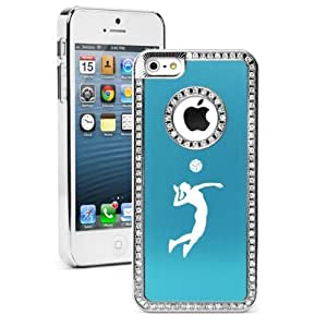 Apple iPhone 5 5s Light Blue 5S618 Rhinestone Crystal Bling Aluminum Plated Hard Case Cover Female Volleyball Player