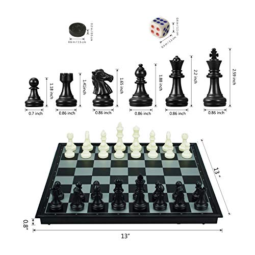 """3 in 1 Chess Checkers Backgammon Set, KAILE Magnetic Chess for Kids Adults Travel Magnet Chess with Folding Case 13"""""""