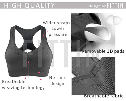 Large Product Image of FITTIN Racerback Sports Bras - Padded Seamless High Impact Support for Yoga Gym Workout Fitness with Removable Pads 4 Pack (Black, Grey, White and Blue): Medium