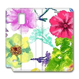 Brain114 Fashion Style Case Design Flip Folio PU Leather Cover Standup Cover Case with Beautiful Watercolor Pattern Skin for Samsung Galaxy Note 4