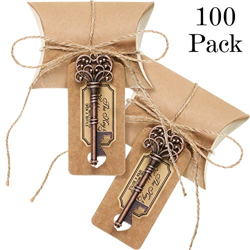 100 Sets Vintage Key Bottle Openers Wedding Favor Souvenir Gift Set Pillow Shape Candy Gift Box Escort Thanks Tag Sticker Hemp Rope (Antique Copper)