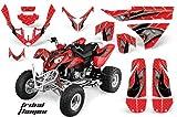 AMRRACING Polaris Predator 500 2003-2007 Full Custom ATV Graphics Decal Kit - Tribal Flames Red