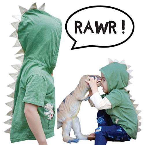 Mini Jiji Green T-Rex Dinosaur Toddler Hoodie/Jacket with Removable Sleeves for Infant Toddlers Boys Girls Unisex (Green 3 yrs) -