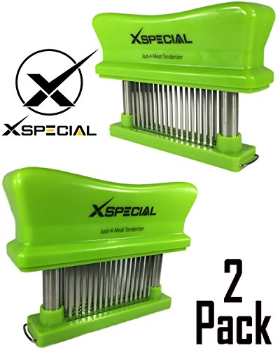CHEF TENDERIZERS GIFTS > Just-4-Meat Tenderizer 48 Needles Stainless Steel - Best Kitchen Handheld Gadgets for Tenderizing Steak Beef Chicken Pork By X-Special (Green 2 Pack / Individually (Grilling Flank Steak)