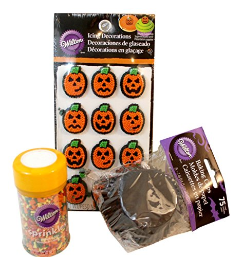 3 Pc Halloween Orange and Black Cupcake liners, Jack O Lantern Icing Decorations, Sprinkles, Decorating Bundle: