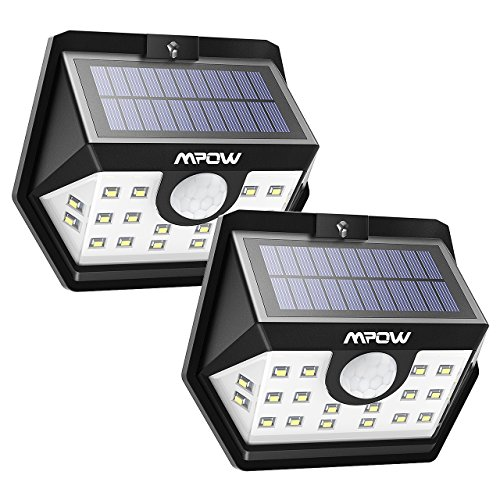 Mpow Solar Lights Outdoor, 20 LED Motion Sensor Lights with Wide Angle Lighting, IP65 Waterproof Wireless Security Lights for Garage Front Door Garden Pathway - 2 Pack (Auto On/Off)