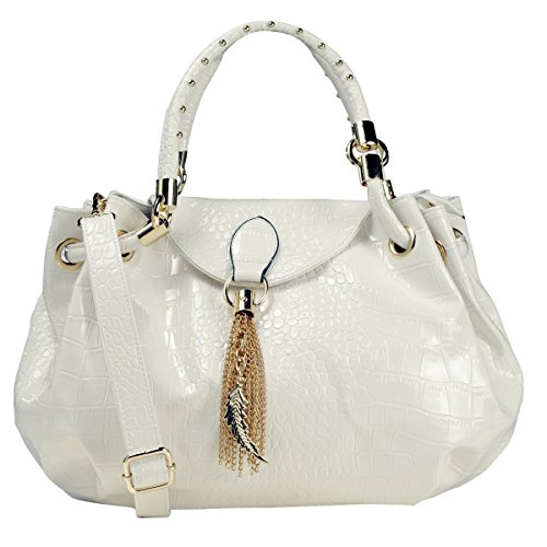 A+ Alligator-Style Satchel Handbag w/ Feather Metal Fringe and Adj. Shoulder Strap (WHITE COLOR): SP2388-WH