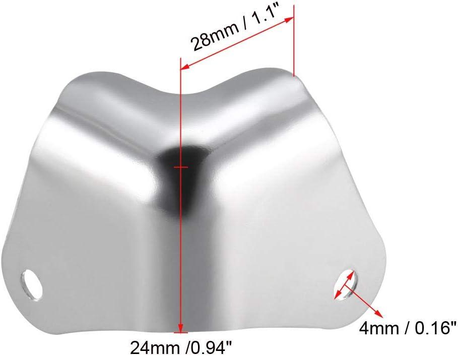 sourcing map 4 St/ück Metal Box Kantenschutz Kantenabdeckung Eckenschutz 28 X 28 X 24mm