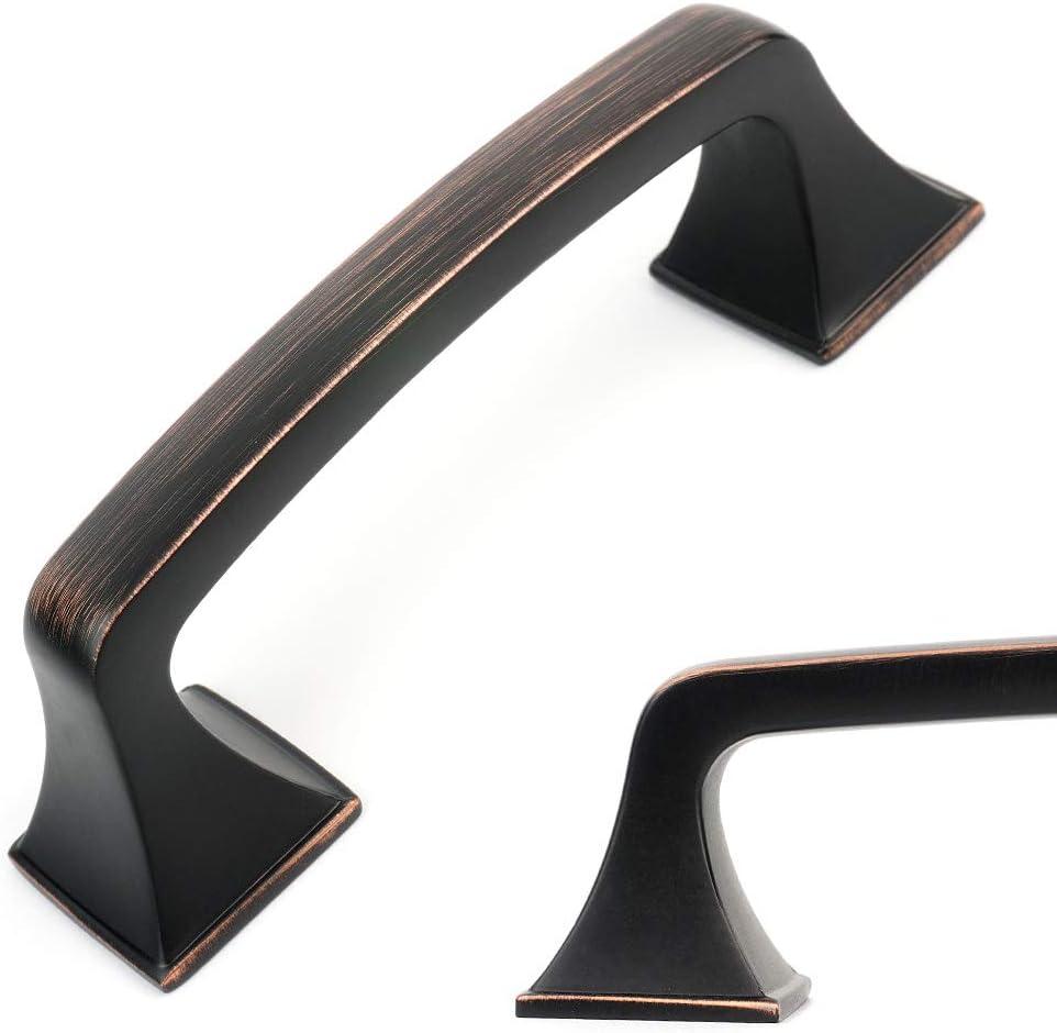 Koofizo Big Square Foot Cabinet Arch Pull - Oil Rubbed Bronze Furniture Handle, 3 Inch/76mm Screw Spacing, 10-Pack for Kitchen Cupboard Door, Bedroom Dresser Drawer, Bathroom Wardrobe Hardware