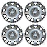 TuningPros WSC3-502S16 4pcs Set Snap-On Type (Pop-On) 16-Inches Metallic Silver Hubcaps Wheel Cover