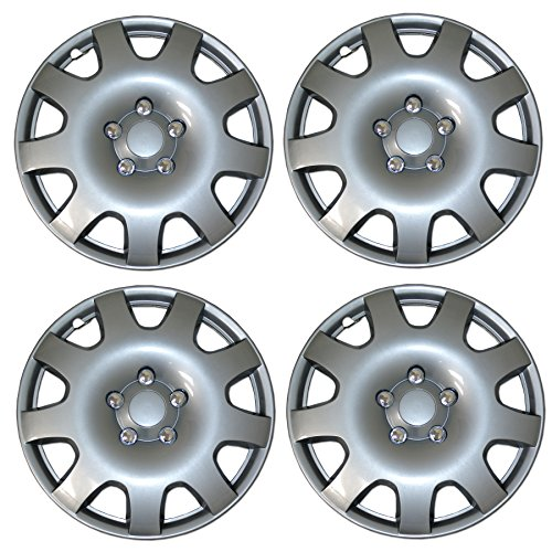 TuningPros WSC3-502S16 4pcs Set Snap-On Type (Pop-On) 16-Inches Metallic Silver Hubcaps Wheel Cover -