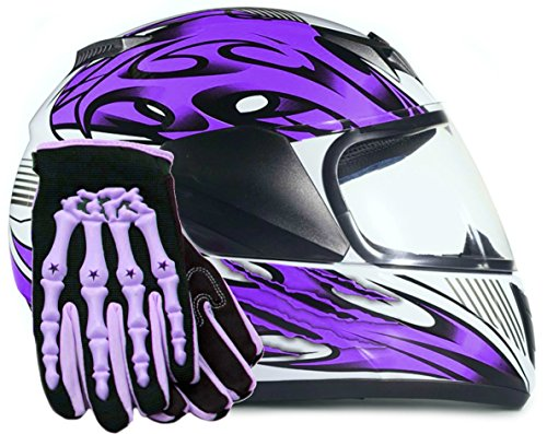 Youth Kids Full Face with Shield Helmet & Gloves Combo Motorcycle Street Dirtbike MX - Purple (XL)