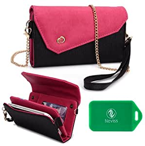 HTC Vivid Ladies wristlet wallet with accommodating chain for cross body use PLUS bonus Neviss Luggage Tag