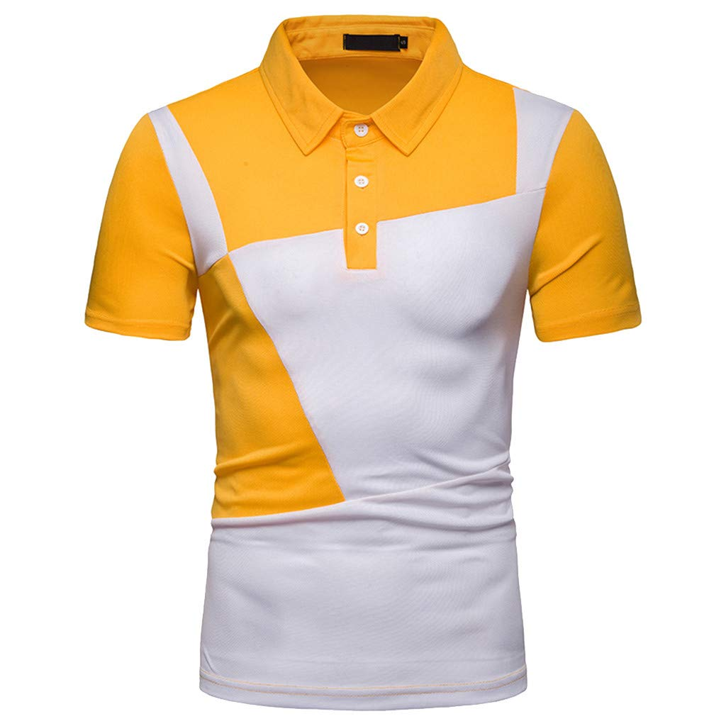 LEXUPA BHYDRY Mens t Shirts Men/'s Fashion Short Sleeve Splicing Painting Large Size Casual Top Blouse Shirts