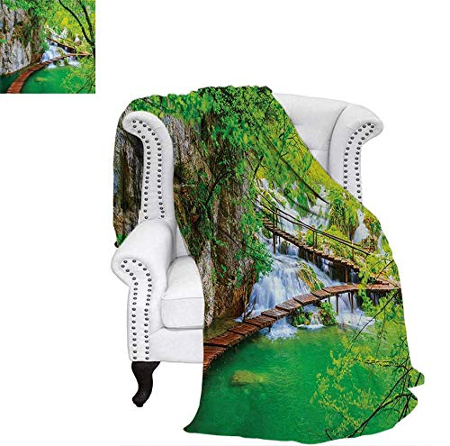 Super Soft Lightweight Blanket Cascade Path Over The Lake by The Waterfall and Hills Mother Nature Theme Idyllic Oversized Travel Throw Cover Blanket 60