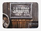 Lunarable Western Bath Mat, Aged Wooden Sign with Word Saloon, Planks on the Background, Classic Style Art, Plush Bathroom Decor Mat with Non Slip Backing, 29.5 W X 17.5 W Inches, Grey Brown