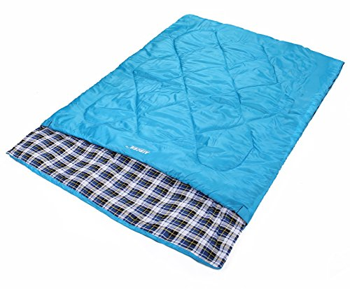Aircee 15 Degree F Double 2 Person Queen Size Flannel Liner Rectangular Sleeping Bag With Pillows
