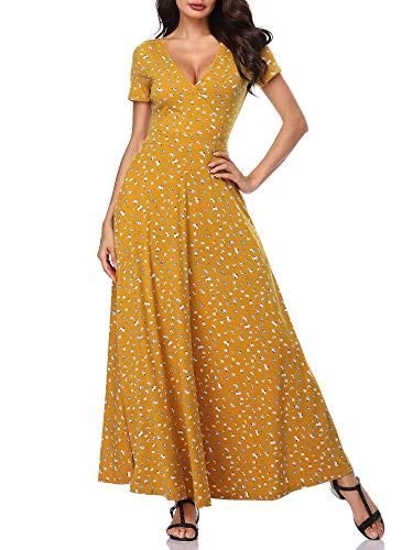 HUHOT Yellow Short Sleeves Floral V Neck A Line Unique Wrap Cross Summer Long Dresses 19020-5 - Dress Short Sleeve Womens