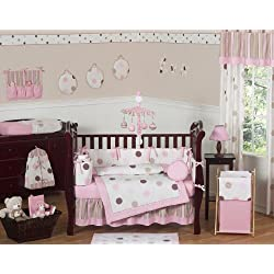 Sweet Jojo Designs Contemporary Pink and Brown Modern Polka Dot Baby Girl Bedding 9pc Crib Set
