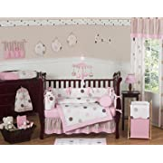 Sweet Jojo Designs 9-Piece Contemporary Pink and Brown Modern Polka Dot Baby Girl Bedding Crib Set