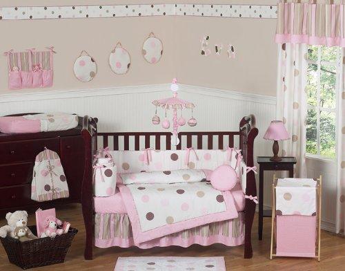 Sweet Jojo Designs 9-Piece Contemporary Pink and Brown Modern Polka Dot Baby Girl Bedding Crib Set (Polka Dot Pink And Nursery Brown)