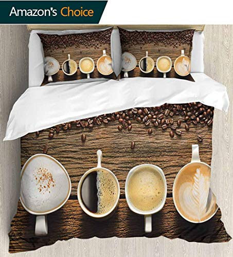 Coffee 3 PCS King Size Comforter Set,Assortment of Coffee Cups with Beans on Wooden Table Americano Cappuccino Mug Decorative 3 Piece Bedding Set with 2 Pillow Sham 68